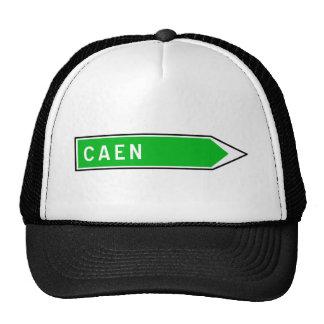 Caen, Road Sign, France Trucker Hat