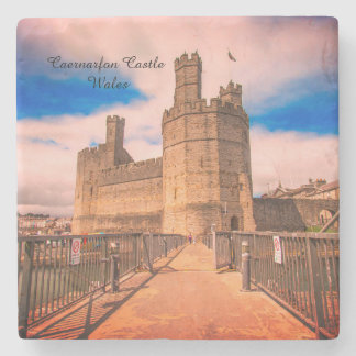 Caernarfon Castle Wales. Stone Beverage Coaster