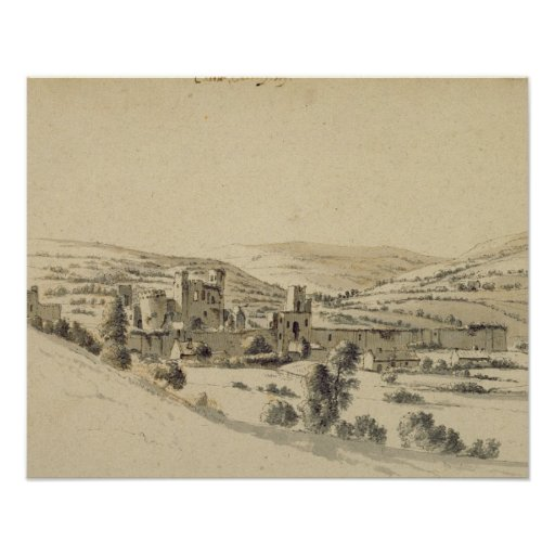 Caerphilly Castle (pen, ink and wash on paper) Posters
