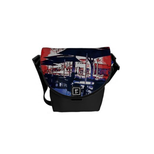 Cafe Aroma Sidewalk Cafe Red Blue Pop Art Design Courier Bags