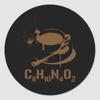 Café C8H10N4O2 Autocollant Rond