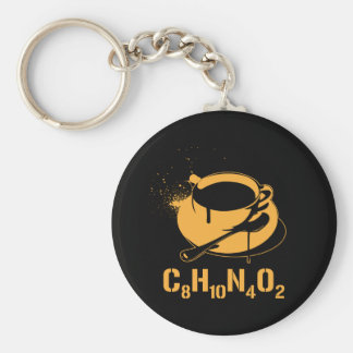 Café C8H10N4O2 Porte-clé Rond