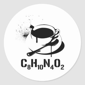 Café C8H10N4O2 Sticker Rond