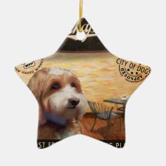 Cafe Cockapoo Ceramic Star Ornament