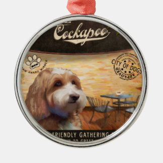 Cafe Cockapoo Silver-Colored Round Ornament