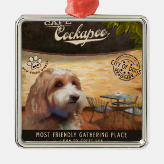 Cafe Cockapoo Silver-Colored Square Ornament