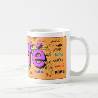 café - Coffee in French, purple. Map. Coffee Mug