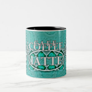 """Cafe Coffee"" Latte* Aqua Color Two-Tone Coffee Mug"