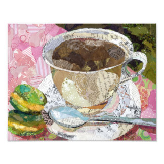 Cafe collage art photographic print