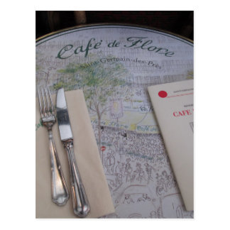 Cafe de Flore, Paris, France - Place Setting, Menu Postcard