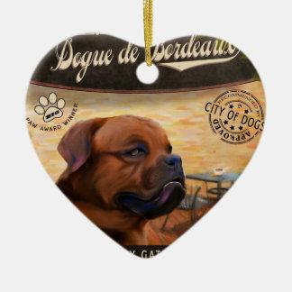 Cafe Dogue de Bordeaux Ceramic Heart Ornament