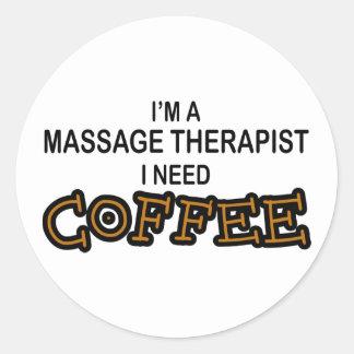 Café du besoin - thérapeute de massage autocollants ronds