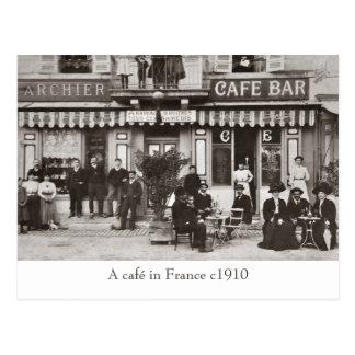 Café in France sepia postcard