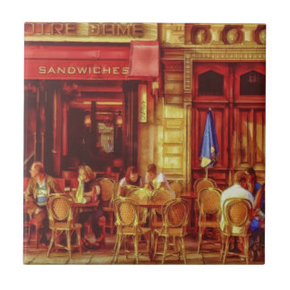 Cafe in Paris France by Shawna Mac Ceramic Tile