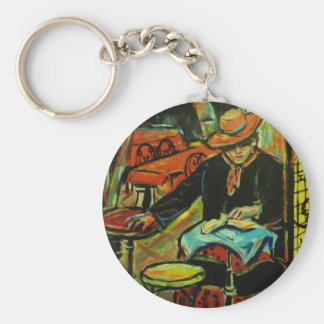 Cafe in the South of France Basic Round Button Keychain
