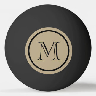 Cafe Latte Solid Color Black Custom Monogram Ping-Pong Ball