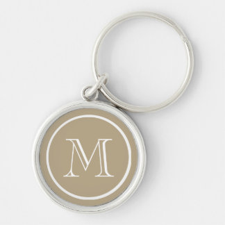 Cafe Latte Solid Color White Custom Monogram Silver-Colored Round Keychain