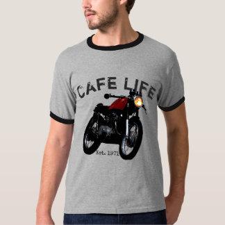 """""""Cafe Life"""" Cafe Racer Vintage Moto Ringer Shirt"""