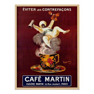 Cafe Martin Vintage Paris France Advertising Poster