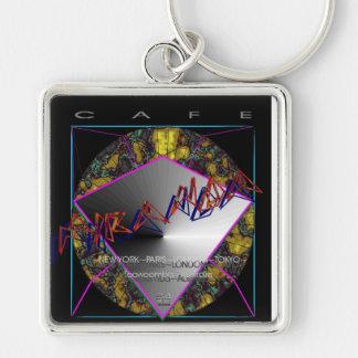 Cafe' Miranda Silver-Colored Square Keychain