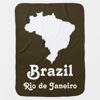 Café Mocha Festive Brazil with custom text Swaddle Blanket