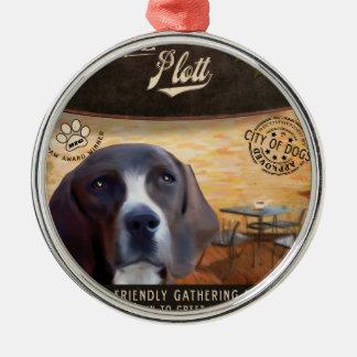 Cafe Plott Silver-Colored Round Ornament