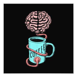 Café pour le cerveau. Illustration drôle de café Photos D'art