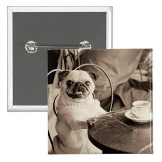 Cafe Pug 2 Inch Square Button