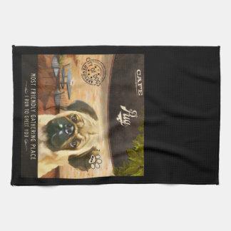 Cafe Pug Hand Towel