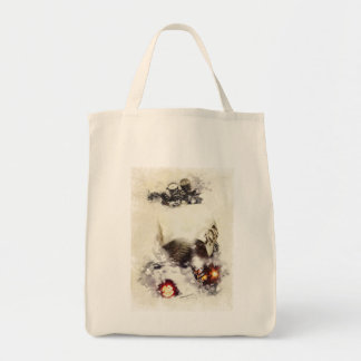 Cafe racer motorcycle grocery tote bag