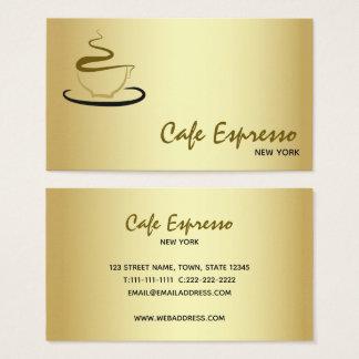 Cafe Restaurant Espresso Golden Elegant Stylish Business Card