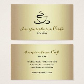 Cafe Restaurant Golden Elegant Classy Minimalist Business Card