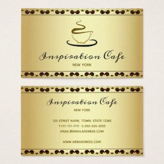 Cafe Restaurant Golden Elegant Classy Vintage Business Card