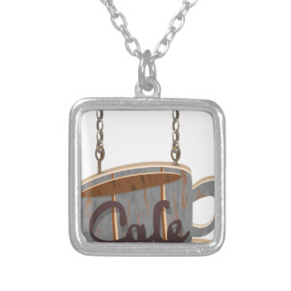 cafe silver plated necklace