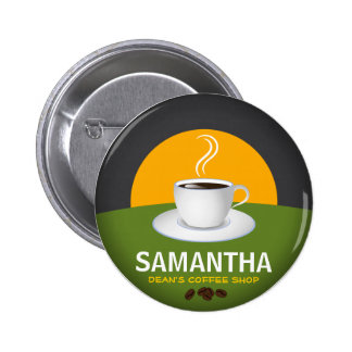 Cafe Staff ID Name Tags Coffee Shop Coffee Cup 2 Inch Round Button