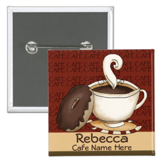 Cafe Staff Name ID 2 Inch Square Button