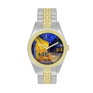 Cafe Terrace at Night by Vincent van Gogh Wrist Watches