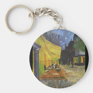 Cafe Terrace at Night Basic Round Button Keychain