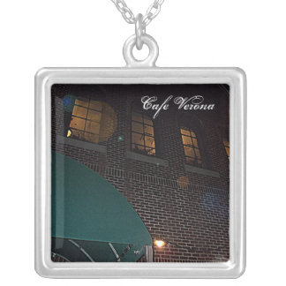 Cafe Verona on Independence Square, Indep. Mo. Square Pendant Necklace