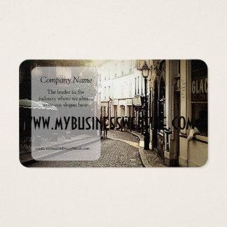 Café vintage de pavé rond avec le lierre cartes de visite