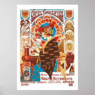 Café vintage d'illustration de Nouveau d'art Poster