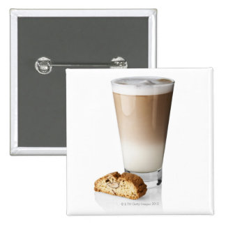 Caffe latte with biscotti, on white background, 2 inch square button