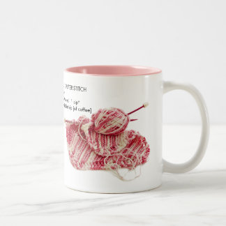 """Caffeinated Garter Stitch"" - Fun Knit Pattern Two-Tone Coffee Mug"