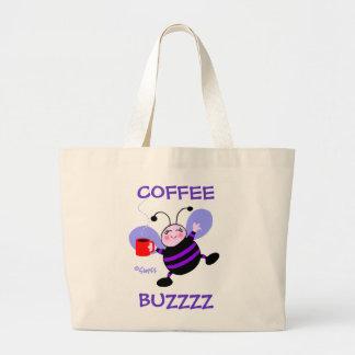 Caffeine Buzz Cute Cartoon Busy Bee Coffee Lover Jumbo Tote Bag