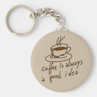 caffeine for coffee lovers basic round button keychain