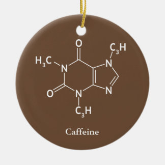 Caffeine Molecule Chemistry Coffee Lovers Ceramic Ornament