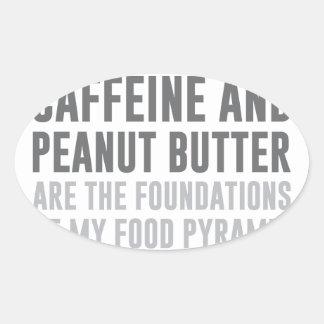 Caffeine & Peanut Butter Oval Sticker
