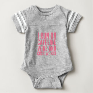 Caffeine Wine & Cuss Words Baby Bodysuit