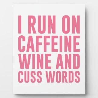 Caffeine Wine & Cuss Words Plaque