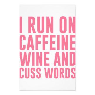 Caffeine Wine & Cuss Words Stationery Paper